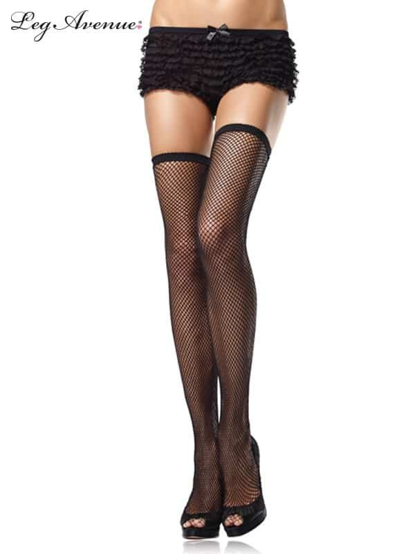 Black Fishnet Thigh Highs with Elastic Top