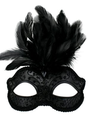 Black Glitter Face Eye Mask with Feathers