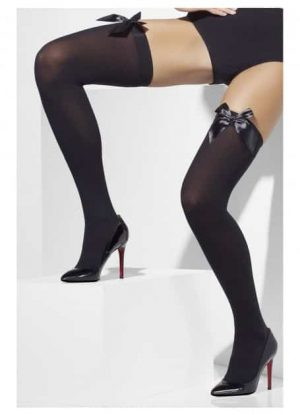 Black Opaque Thigh Highs with Black Satin Bow