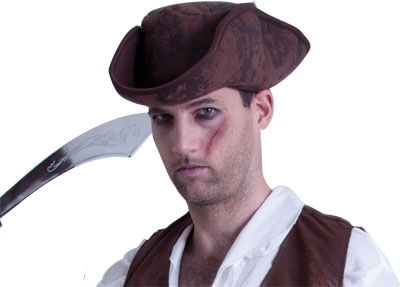 Caribbean Pirate Hat - Brown