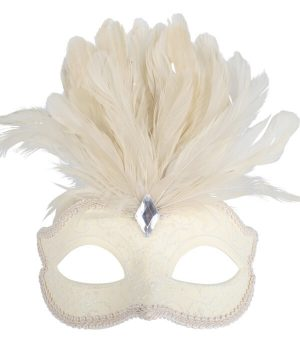 Cream Glitter Face Eye Mask with Feathers