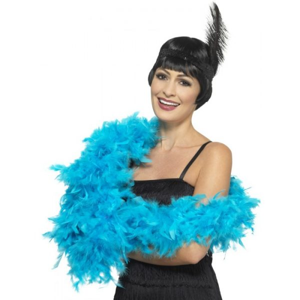 Deluxe Feather Boa, Turquoise Blue