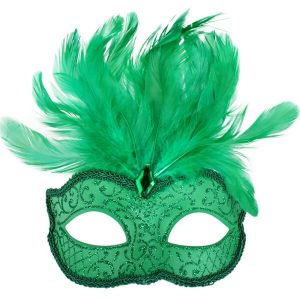 Green Glitter Face Eye Mask with Feathers
