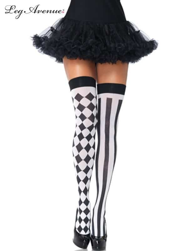 Harlequin Black and White Thigh Highs
