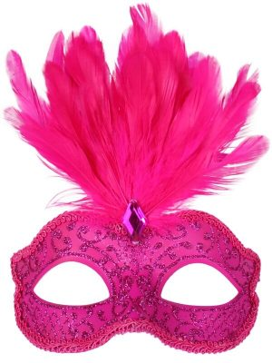 Hot Pink Glitter Face Eye Mask with Feathers