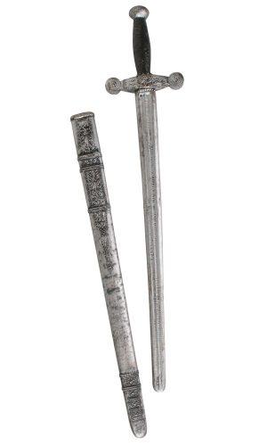 Knight Sword w Sheath wood _ stone look 75cm