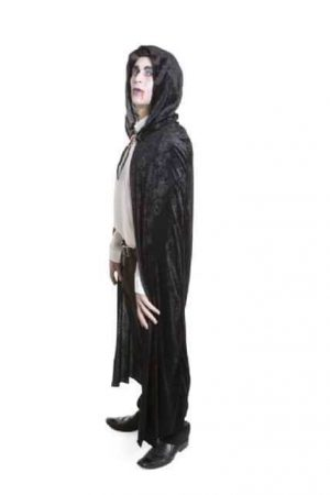 Long Black Velvet Hooded Cape