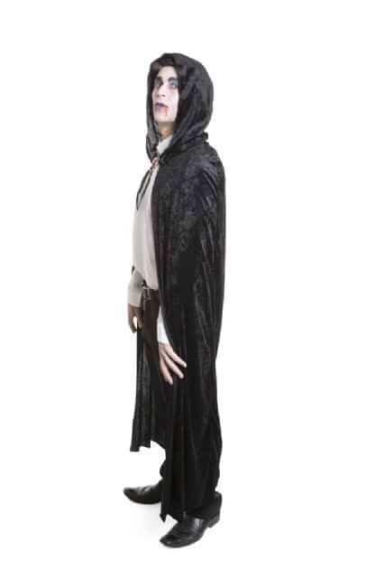 Long Black Velvet Hooded Cape