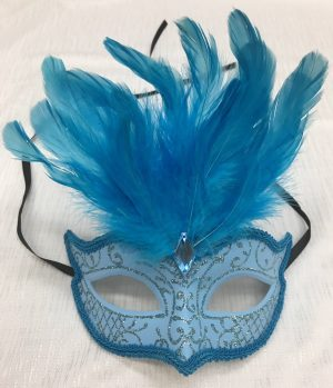 Pale Blue Glitter Face Eye Mask with Feathers