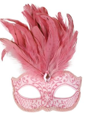 Pale Pink Glitter Face Eye Mask with Feathers