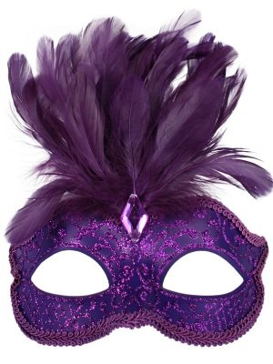 Purple Glitter Face Eye Mask with Feathers