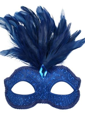Royal Blue Glitter Face Eye Mask with Feathers