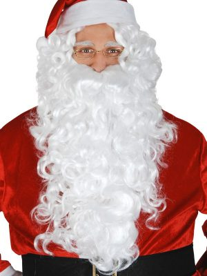 Santa Beard and Wig White Deluxe