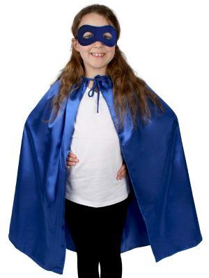 Super Hero Blue Satin Cape with Eye Mask Child