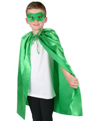 Super Hero Green Satin Cape with Eye Mask Child