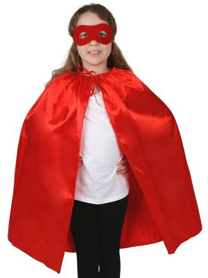 Super Hero Red Satin Cape with Eye Mask Child