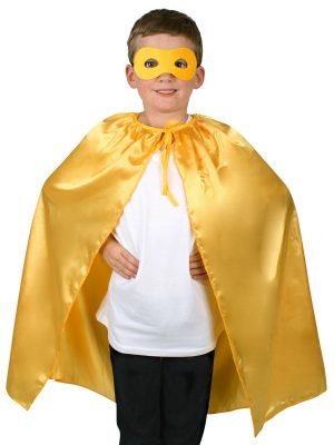 Super Hero Yellow Satin Cape with Eye Mask Child