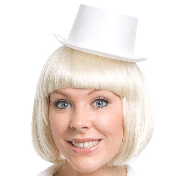 Top Hat White Mini Satin