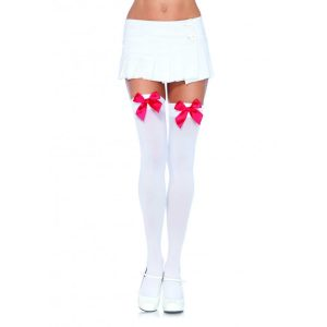White Opaque Thigh Highs with Red Satin Bow