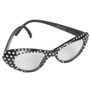 60's Glasses Black with white spots