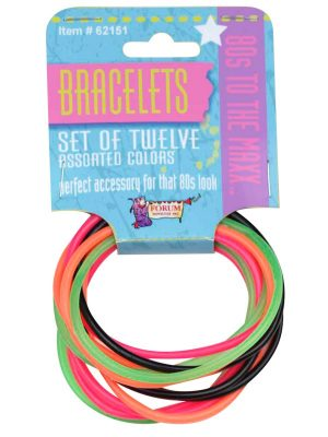 80's Fluro Rubber Bracelets 12 Pack