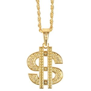Dollar Sign Pendant Necklace Gold