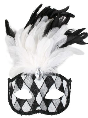 Francesca Eye Mask Black, White and Silver with Feathers