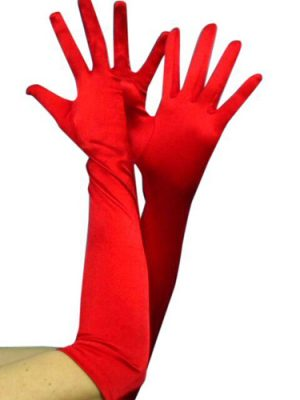 Gloves - Long Satin Red