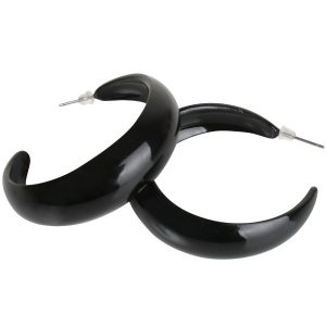 Hoop Pierced Black Earrings