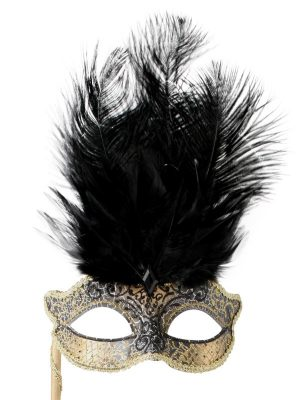 Josephine Black with Stick and Feathers Eye Mask