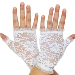Lace Fingerless White Gloves