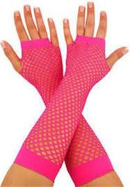 Long Hot Pink Fishnet Gloves