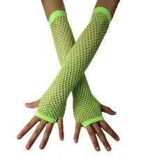 Long Neon Green Fishnet Gloves