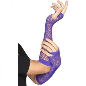 Long Purple Fishnet Gloves