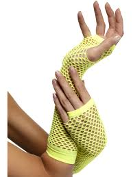 Long Yellow Fishnet Gloves