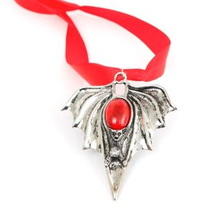 Necklace Vampire Bat with Red Stone