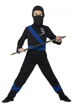 Ninja Assassin Costume, Black & Blue