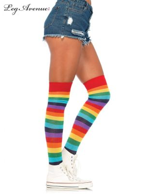 Rainbow Spandex Striped Thigh Highs