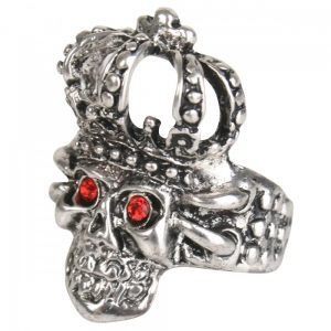 Ring Skull & Crown with Red Jewelled Eyes
