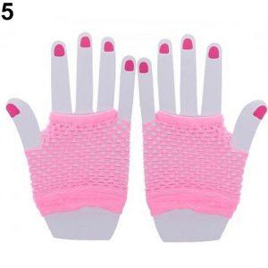 Short Fishnet Light Pink Gloves