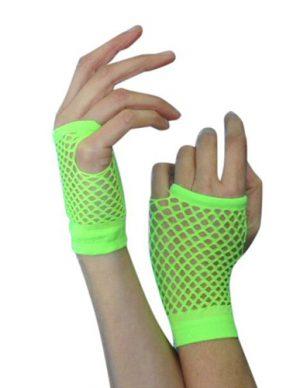 Short Fishnet Neon Green Gloves