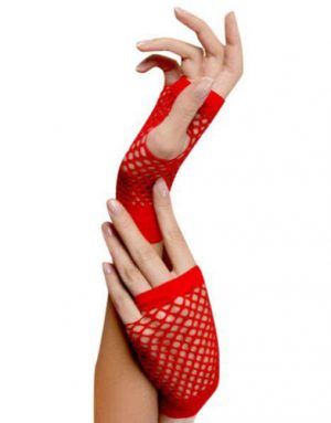 Short Fishnet Red Gloves
