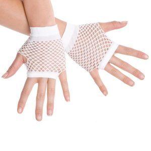 Short Fishnet White Gloves