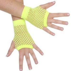 Short Fishnet Yellow Gloves