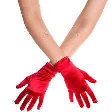 Short Red Satin Gloves