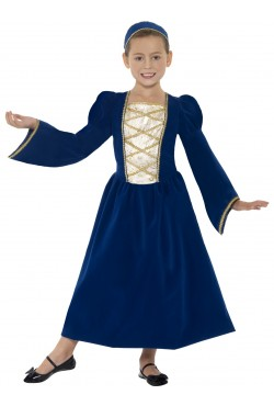 Tudor Medieval Princess Girl Costume, Blue
