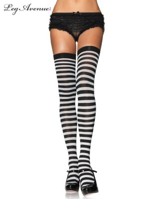 Black and White Striped Thigh High Stocking