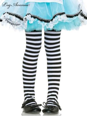 Child Girls Black and White Stripe Tights