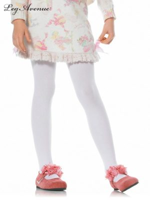 Child Girls White Opaque Tights