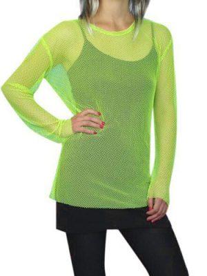 Top - 80S Fishnet Top - Neon Green